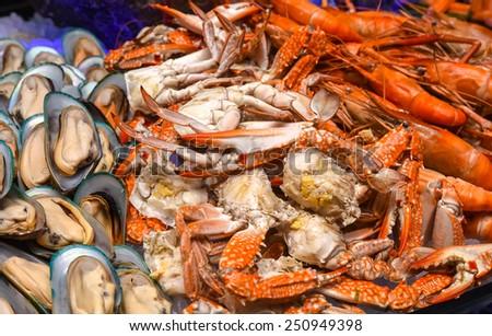 Seafood mix close-up - stock photo
