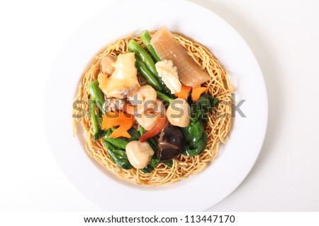 seafood noodles - stock photo