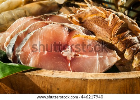 Seafood on the buffet Preparing for a wedding dinner - stock photo