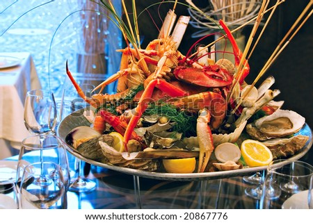 Seafood on the plate - stock photo