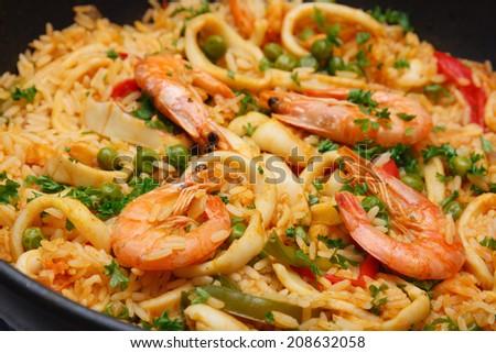 seafood paella - stock photo