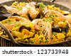 seafood paella closeup - stock photo