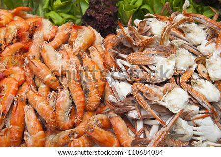 Seafood Party Platter, Shrimps and Crabs - stock photo
