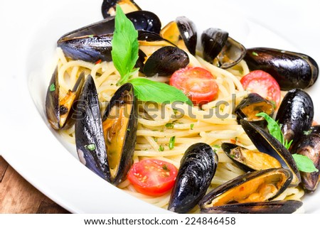 Seafood  Pasta with mussels and basil for a tasty sea food meal macro