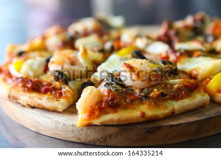 Seafood pizza - stock photo