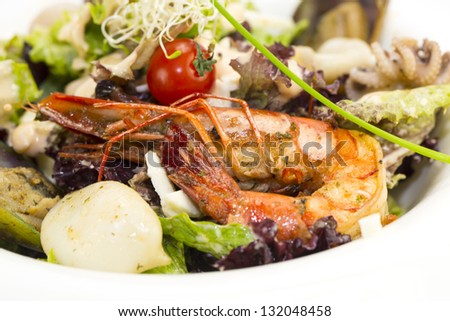 seafood salad on a plate on a white background