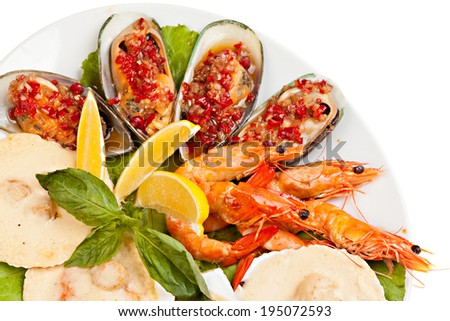 Seafood salad  on a white background