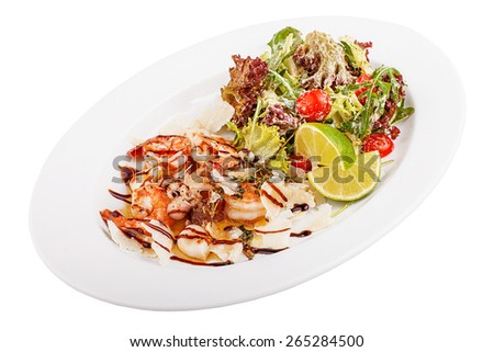 Seafood salad on a white isolated background