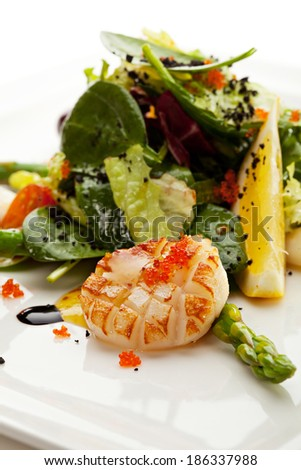 Seafood Salad with Asparagus, Lemon and Salad Mix
