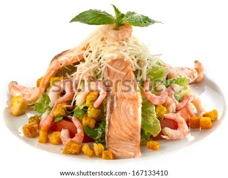 Seafood sald - stock photo