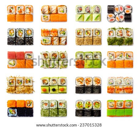 Seafood set - isolated rolls on white background - stock photo