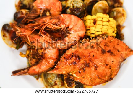 seafood shrimp, crab with shell.