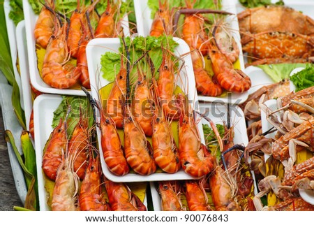 seafood, Shrimp grill  on the market - stock photo