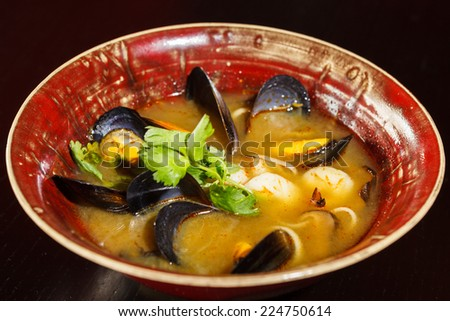 seafood soup - stock photo