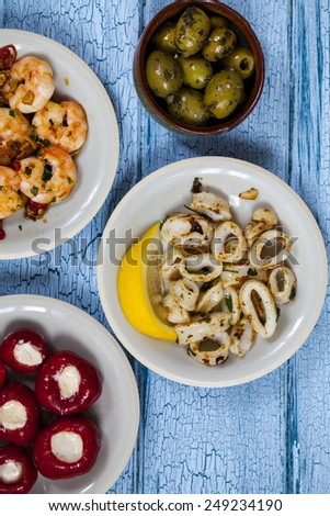 Seafood tapas from above - stock photo