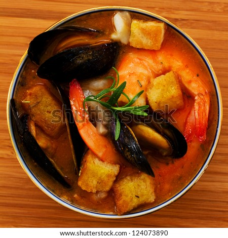 Seafood - Traditional Asian fish soup - stock photo