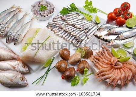 seafood variety - stock photo