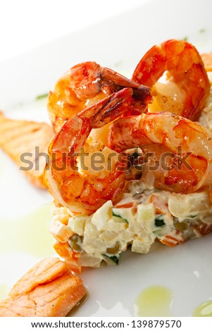 Seafood with Vegetables Salad - stock photo