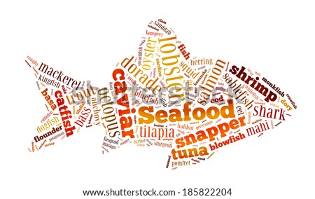 Seafood word cloud in shape o fish on white - stock photo