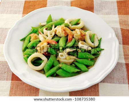 Seafoods - Shrimps,  Squids with green peas