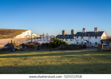 SEAFORD, SUSSEX/UK - NOVEMBER 28 : Old Coastguard Cottages at Seaford Head in Seaford Sussex on November 28, 2016