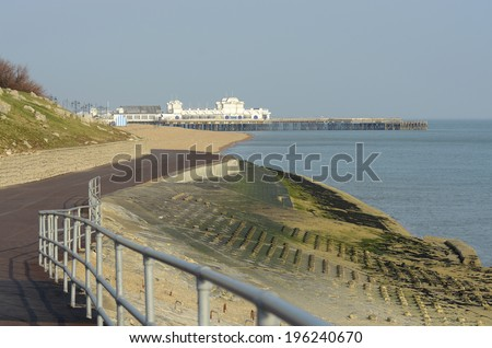 Seafront promenade towards Pier at Southsea in Portsmouth. Hampshire. England.  - stock photo