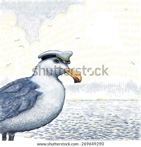 Seagull in a sea cap against the background of the sea - stock photo