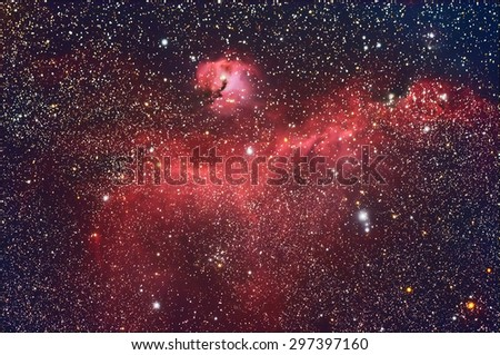 Seagull Nebula with Galaxy,Open Cluster,Globular Cluster, stars and space dust in the universe long expose. - stock photo