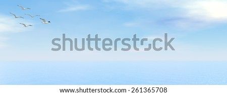Seagulls flying upon the ocean by day - 3D render - stock photo