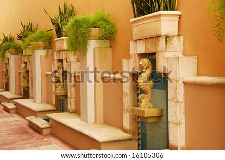 Seahorse Fountain - stock photo