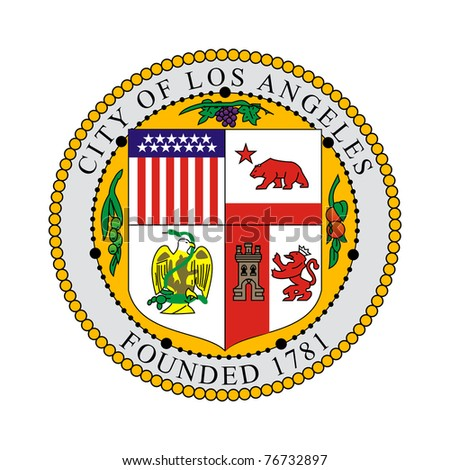 Seal of American city of Los Anglese, California, isolated on white background.