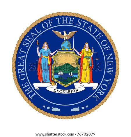 Seal of American state of New York; isolated on white background.