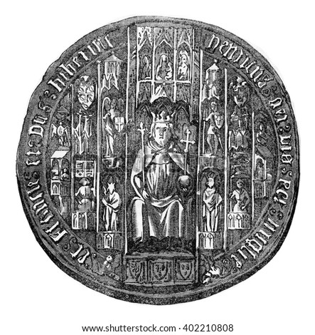 Seal of Henry V, vintage engraved illustration. Colorful History of England, 1837.