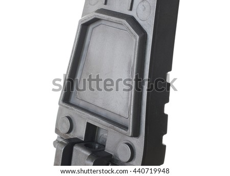 Seal on the butt stock of a rifle to keep water out of the battery compartment - stock photo