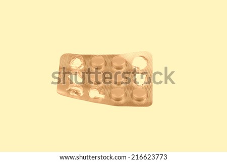sealed packaging drug tablet on a white background