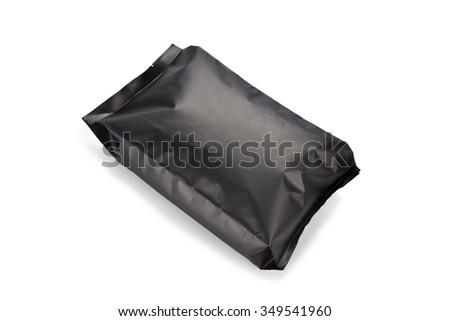 Sealed plastic bag containing cereal isolated on white background with clipping path.  - stock photo