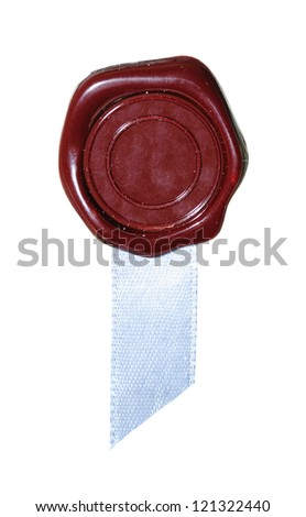 Sealing wax with a blue ribbon. Isolation on a whiteness - stock photo