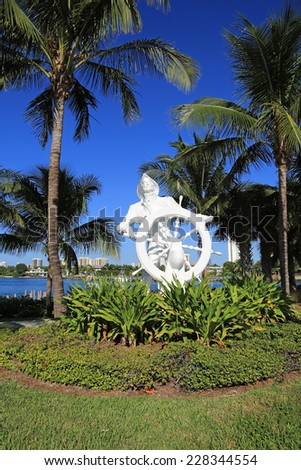 Seaman statue at the entrance to Phil Foster Park in Riviera Beach, Florida, a popular  boat ramp and park. - stock photo