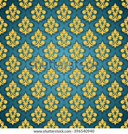 Seamless Abstract Background Blue Yellow Color Vintage For Textile Design Wallpaper