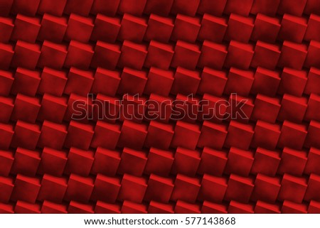 seamless abstract background made of connected grungy cubes in shades of dark red