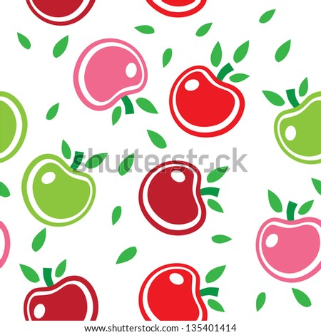 Seamless abstract background pattern of colorful apples vector. This graphic illustration can be used for wallpaper, pattern fills, web page background, surface textures, etc. - stock photo