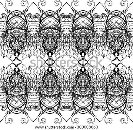 Seamless abstract Doodle background, black and white, raster copy of illustration - stock photo