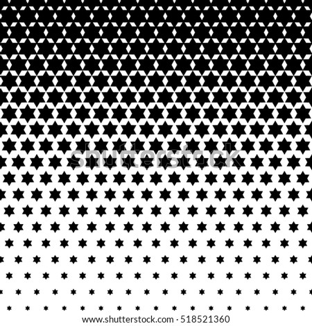 Seamless Abstract dotted background. Halftone effect illustration. Black Jewish stars on white background.