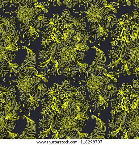 Seamless abstract floral background, hand drawn illustration for design