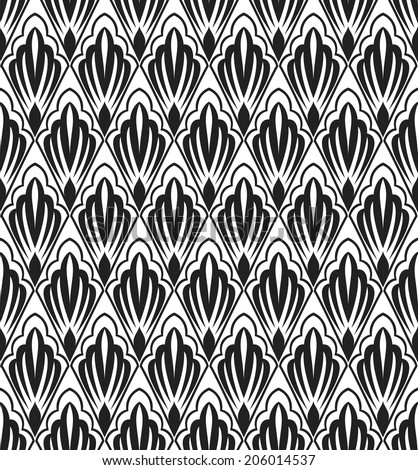 Seamless abstract floral pattern.Black and white background.