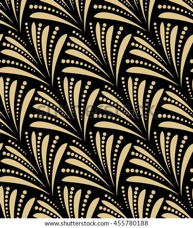 Seamless abstract floral pattern. Stylish background. Gold and black ornament - stock photo