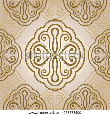 Seamless abstract flower bud beige ornament.