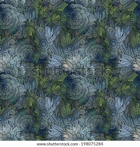 Seamless abstract flowers pattern. Endless background - stock photo