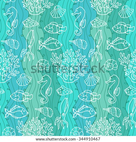Seamless Abstract Hand Drawn Wave Pattern. Ocean. Illustration for wallpapers, textile prints, backgrounds