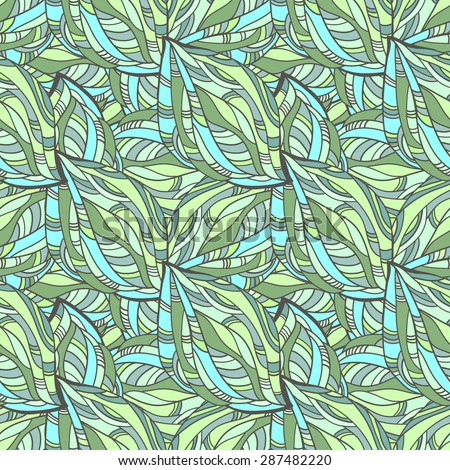Seamless abstract pattern autumn jungle in hippie style, psychedelic hippie pattern, bright multicolored shapes. - stock photo